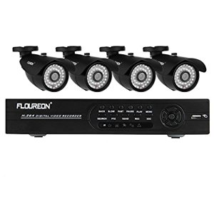 Floureon® Kit CCTV DVR Sorveglianza System - 1 X 8CH 960H/D1 DVR + 4 X Outdoor 1200TVL HDMI Sicurezza Camera (Hard Drive non Incluso)