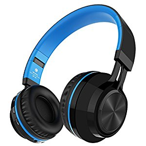 Alihen BT-06 Swift Bluetooth 4.0 cuffie stereo senza fili, Noise Cancelling In Ear Headset, con Costruire in microfono e controllo del volume, è dotato di audio cavo, compatibile con la maggior Cellulari / PC / TV / iPhone / Samsung / Laptop (Blu)