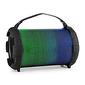 auna Dr. Bang LED 2.1 Cassa acustica BLUETOOTH dispositivo speaker portatile (20 Watt RMS 40 Watt MAX, Batteria Integrata, USB SD MP3, Illuminazione LED Multicolore, AUX) nera