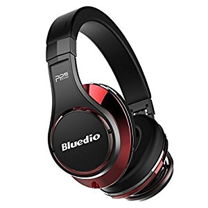 Bluedio U (UFO) Faith series High-End auricolari Bluetooth cuffie bluetooth Revolution Patented 8 Tracks /3D Sound Effect /Aluminum alloy build/Hi-Fi Rank cuffie wireless&wired Over-Ear headphones/headset with carrying hard case Gift-package (Nero-Rosso)