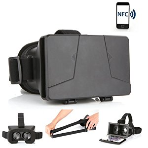 LEAP-HD 2015 NEW UPDATED! VIRTUAL REALITY CARDBOARD TOOLKIT SMARTPHONE VIRTUAL REALITY VIEWER ColorCross Universal Google Cardboard Plastic Version 3D VR Complete Kit Virtual Reality Glasses Headset for Real HD 3d Experience (PRO-NFC)