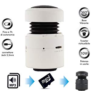 Speaker Portatile Lettore Mp3 4Geek Echo Beat White - Mini Altoparlante con Base vibrante - Slot per microSD - Batteria Interna Ricaricabile - Jack 3,5mm - Cod. NANOBEAT/WT