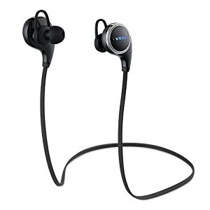 [QY8 Aggiornato] VTIN Swan Auricolari Bluetooth V4.1 Wireless Sport Cuffiette Stereo Headset con Microfono Incorporato / APT-X per Apple iPhone 6, 6 6s Plus, 5 5c 5s 4s iPad iPod Touch, Samsung Galaxy S6 S5 S4 S3 Note 3 2 e Tablet Cellulari Android - Nero